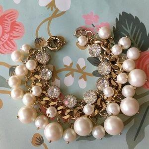Nwot cluster pearl crystal preppy bracelet